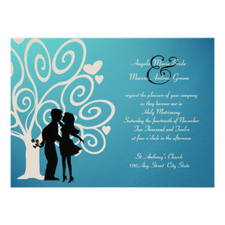 Engagement Wedding Silhouette Personalized Announcements