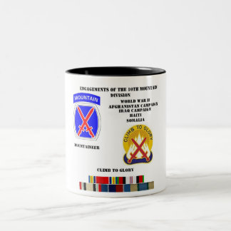 Engagements of  the 10th Mountain division Two-Tone Coffee Mug
