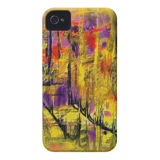 Engaging Yellow and Black Abstract Case-Mate iPhone 4 Case