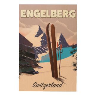 Engelberg Switzerland Ski travel poster