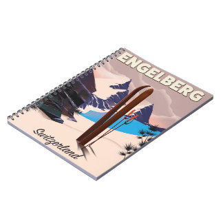 Engelberg Switzerland Ski travel poster Notebooks