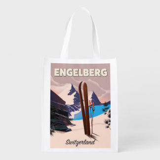 Engelberg Switzerland Ski travel poster Reusable Grocery Bag