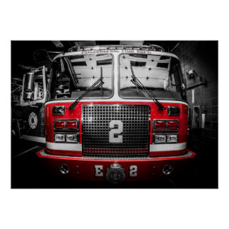 "Engine 2 - Red Fisheye Poster - 28"" x 20"""