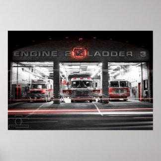 "Engine 2 Station at night - 19"" x 13"", (Matte) Poster"