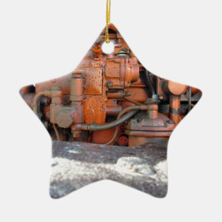 Engine of old italian crawler tractor ceramic ornament