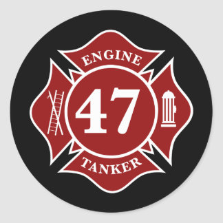 Engine / Tanker 47 Maltese Cross Round Sticker