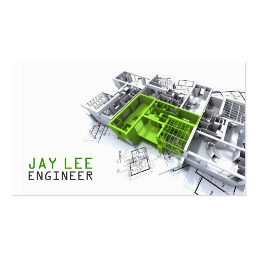 Engineer, Engineering, Architect, Builder Business Card Template
