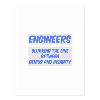 Engineer Joke .. Genius and Insanity Postcards
