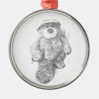 Engineer Teddy Bear Sketch Silver-Colored Round Decoration