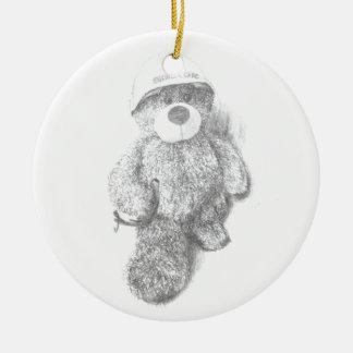 Engineer Teddy Bear Sketch Round Ceramic Decoration