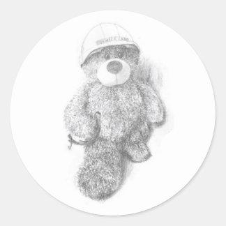 Engineer Teddy Bear Sketch Round Sticker