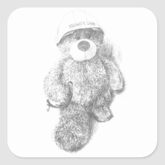 Engineer Teddy Bear Sketch Square Sticker