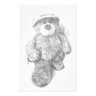 Engineer Teddy Bear Sketch Customised Stationery