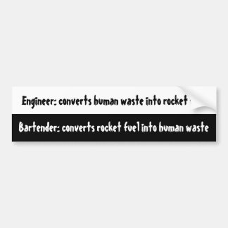 Engineer vs Bartender Bumper Stickers