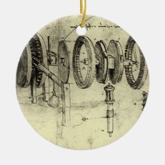 Engineering Sketch of a Wheel by Leonardo da Vinci Ceramic Ornament