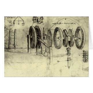 Engineering Sketch of a Wheel by Leonardo da Vinci Greeting Card