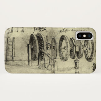 Engineering Sketch of a Wheel by Leonardo da Vinci iPhone X Case