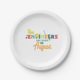 Engineers are born in August Z479b Paper Plate