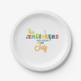 Engineers are born in July Z6n9z Paper Plate