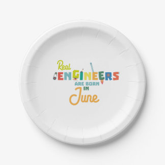 Engineers are born in June Zvl3m Paper Plate