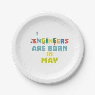 Engineers are born in May Z863d Paper Plate