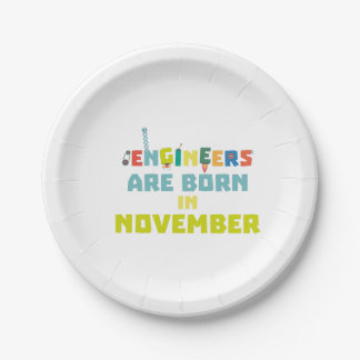 Engineers are born in November Za7ra Paper Plate