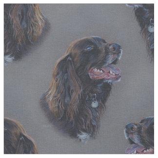 Engish Cocker Spaniel dog. Fine art painting. Fabric