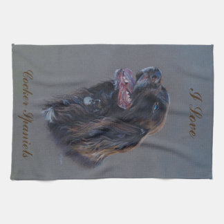 Engish Cocker Spaniel dog. Fine art painting. Tea Towel