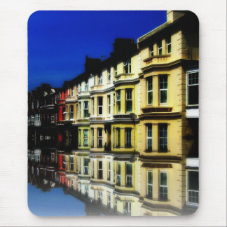 England Building Reflections Blue Digital Art Mouse Pad