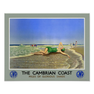 England Cambrian Coast Vintage Travel Poster