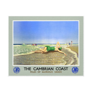 England Cambrian Coast Vintage Travel Poster Canvas Print