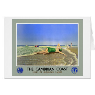 England Cambrian Coast Vintage Travel Poster Card