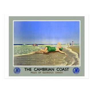 England Cambrian Coast Vintage Travel Poster Postcard
