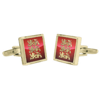 England - Coat of Arms Gold Finish Cufflinks