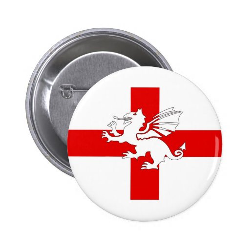 England Flag and Dragon Pin