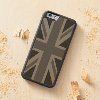 England Flag Black Gray Carved Maple iPhone 6 Bumper Case