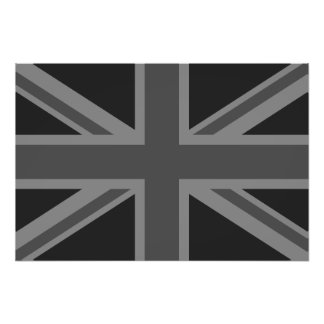England Flag Black Gray Photographic Print