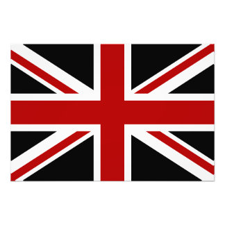 England Flag Black Red White Photographic Print