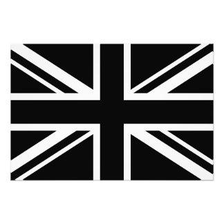 England Flag Black White Photographic Print