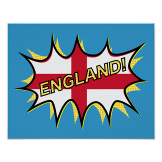 England Flag Kapow Comic Style Star Poster
