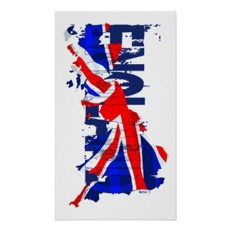 England Flag Map 02 Poster