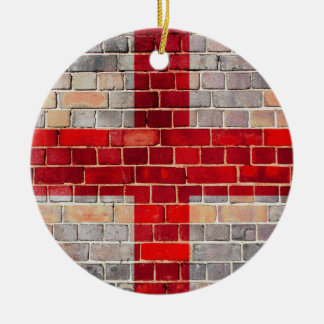 England flag on a brick wall ceramic ornament