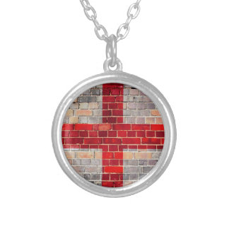 England flag on a brick wall silver plated necklace