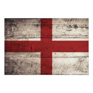 England Flag on Old Wood Grain Photo Print