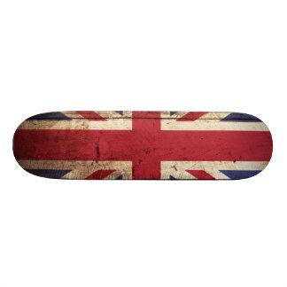 England Flag on Old Wood Grain Skate Boards