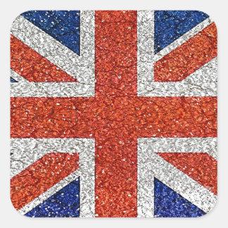 England Flag Vivid Grunge Style Square Sticker
