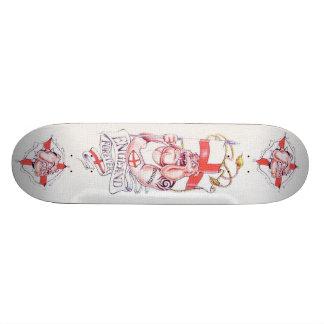 England Forever Bulldog Tattoo Skateboard