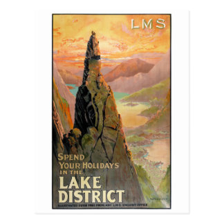 England Lake District Vintage Travel Poster Postcard