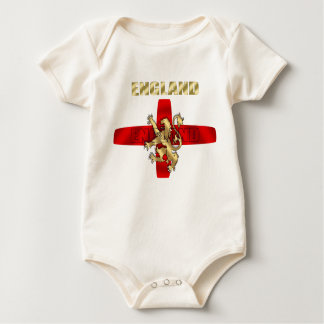 England outline logo and lion soccer gifts baby bodysuit