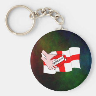 England Rugby Team Supporters Flag With Ball Basic Round Button Key Ring